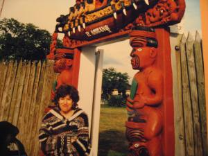 At the gate to the National Marae (Meeting House)
