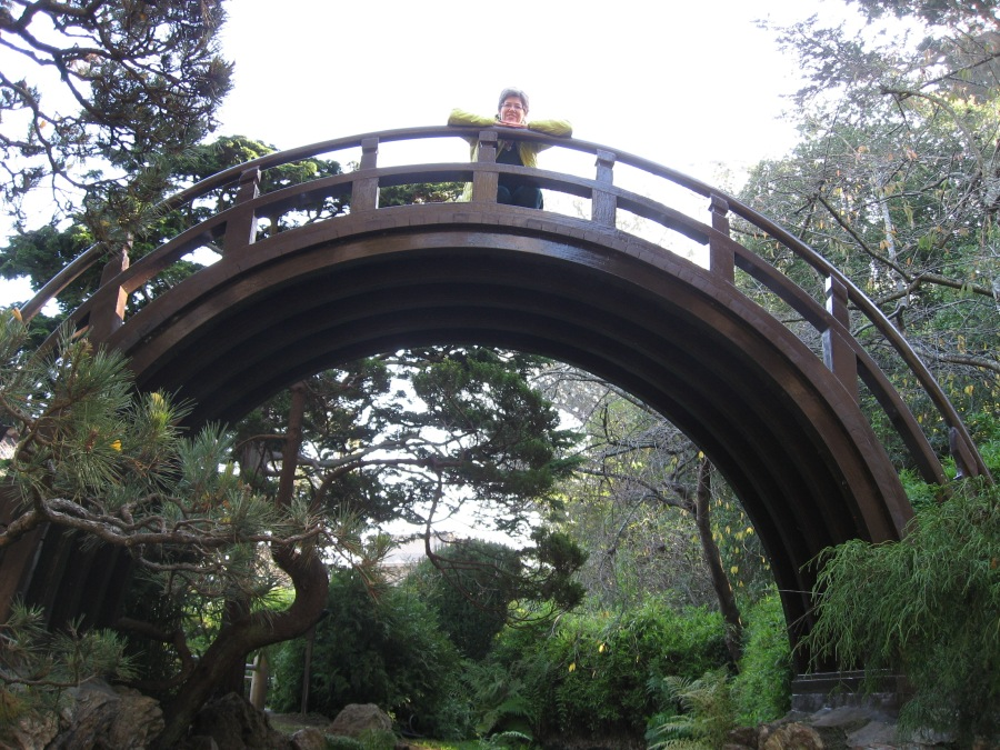 Barb on bridge in Japanese Tea Garden 11/13
